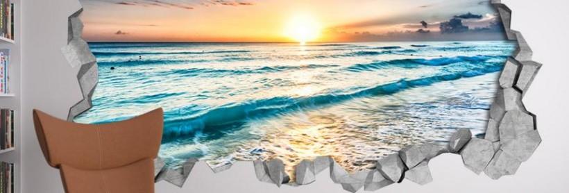 un des nombreux stickers muraux sur le thème de la plage