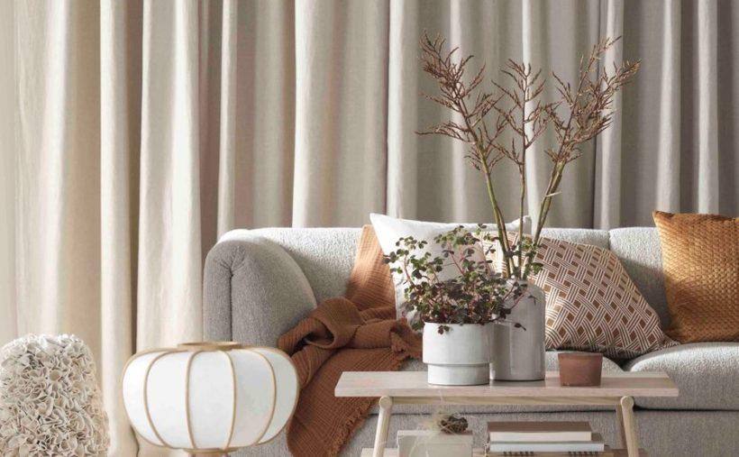 Canapé et fleurs beiges