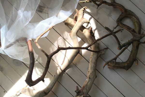pile de branches de bois flotté